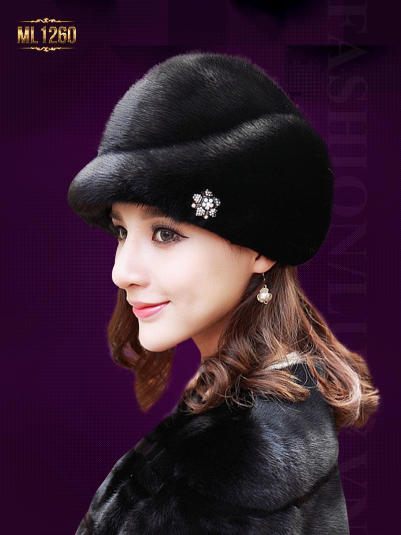 Mũ lông Hàn Quốc đính hạt cao cấp ML1260 (Màu đen)