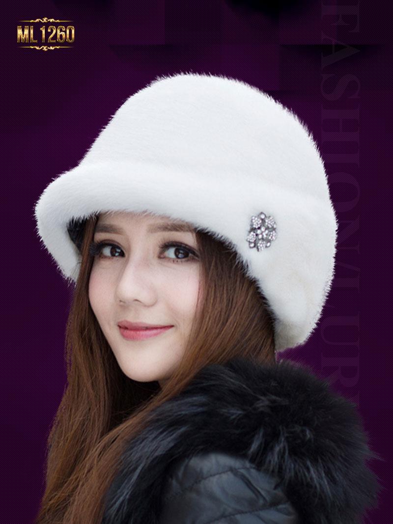 Mũ lông Hàn Quốc đính hạt cao cấp ML1260 (Màu trắng)