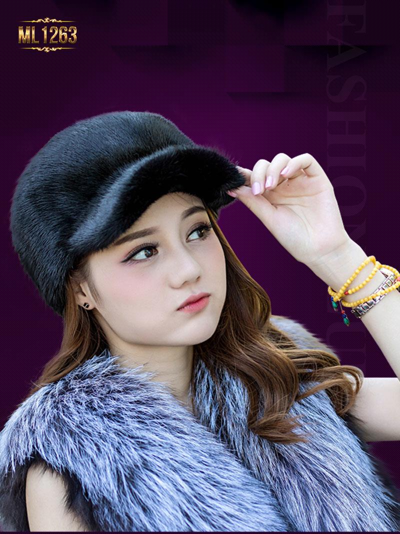 Mũ lông lưỡi trai thời trang nhập khẩu Hàn Quốc ML1263 (Màu đen)