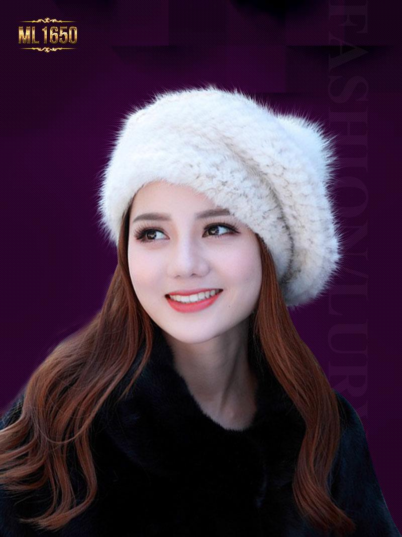 Mũ nồi lông cao cấp ML1650 mới 2017 gắn quả bông thời trang