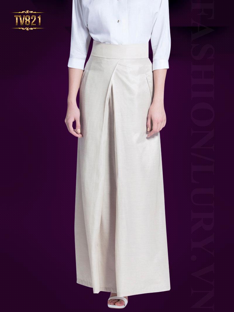 Mẫu quần culottes Hàn Quốc thiết kế phần ống suông rộng cá tính TV821