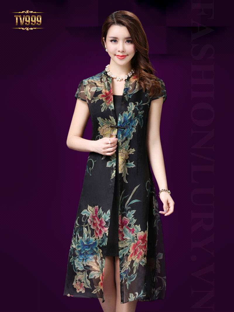 Set váy 2 dây+ áo voan khoác thêu hoa sang trọng TV999