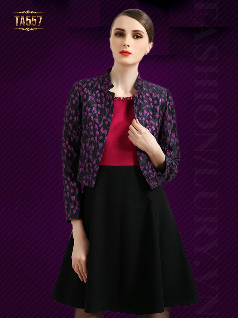 Áo khoác hoa tím dáng ngắn cao cấp TA557