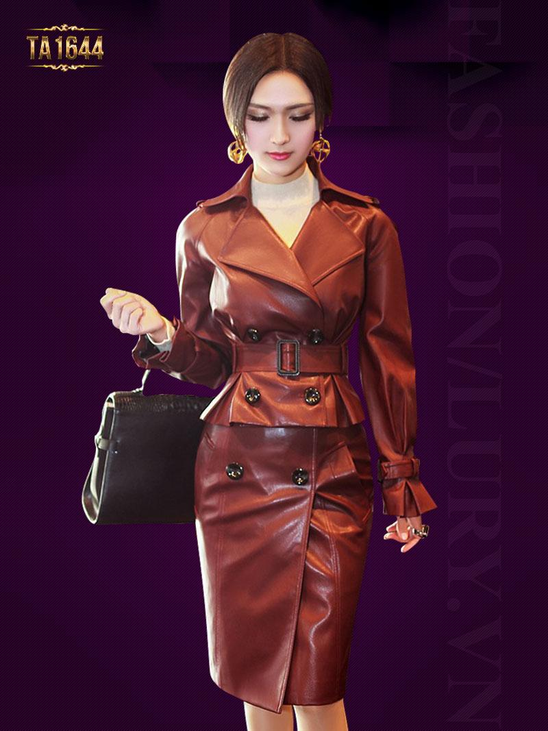 Set áo khoác kèm chân váy mới 2017 TA1644  chất liệu da cao cấp