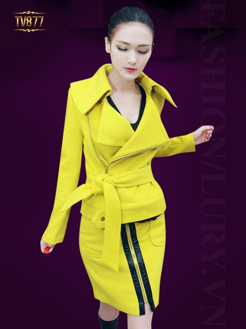 Set áo dạ gam màu vàng trẻ trung kết hợp chân váy hai túi thời thượng TV877