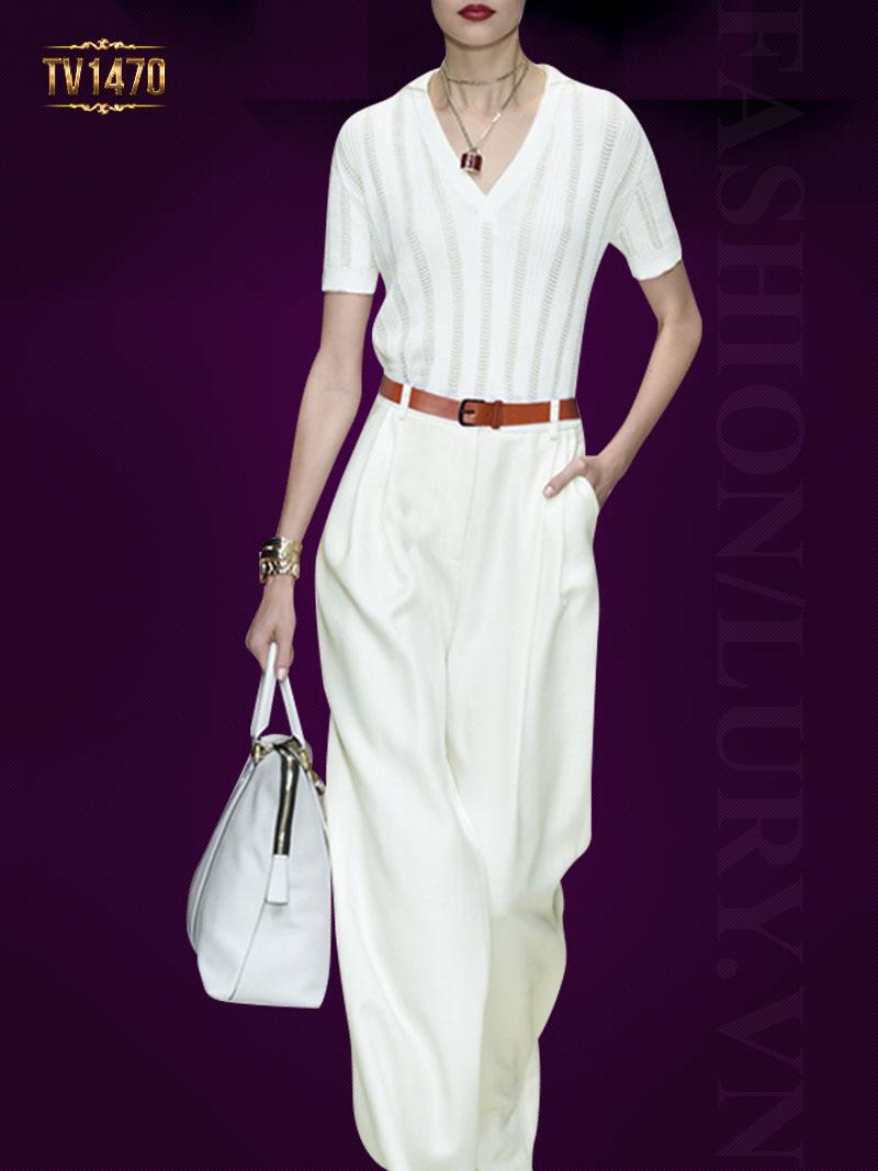 Set áo quần thiết kế màu trắng đai lưng sang trọng TV1470