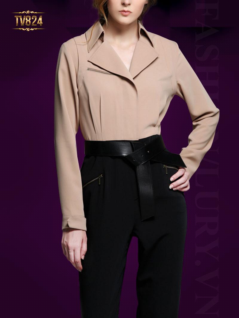 Set thiết kế áo sơ mi khóa ngực + quần âu đen kèm dây đai cao cấp TV824