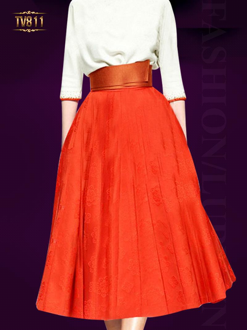 Set áo trắng đính cườm phối chân váy cam thời trang TV811