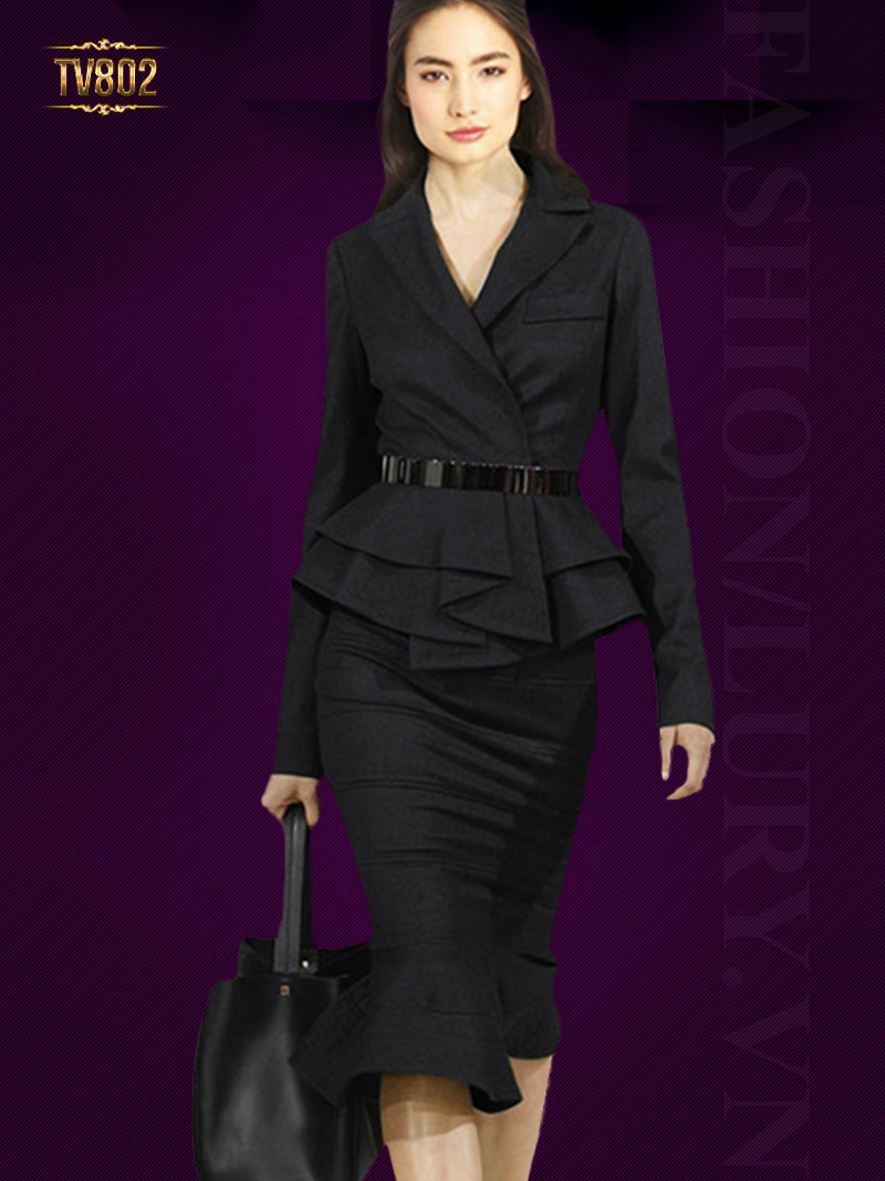 Set áo vest peplum cách điệu kèm chân váy cao cấp TV802