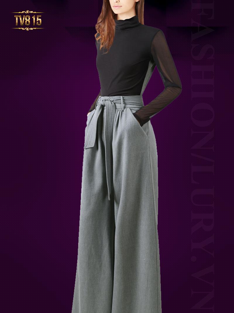 Set thiết kế áo voan đen dài tay quần culottes dáng dài thời trang TV815