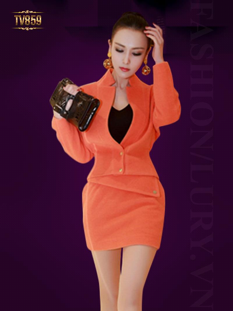 Set đồ áo khoác dạ dáng ngắn +chân váy hai túi cao cấp TV859