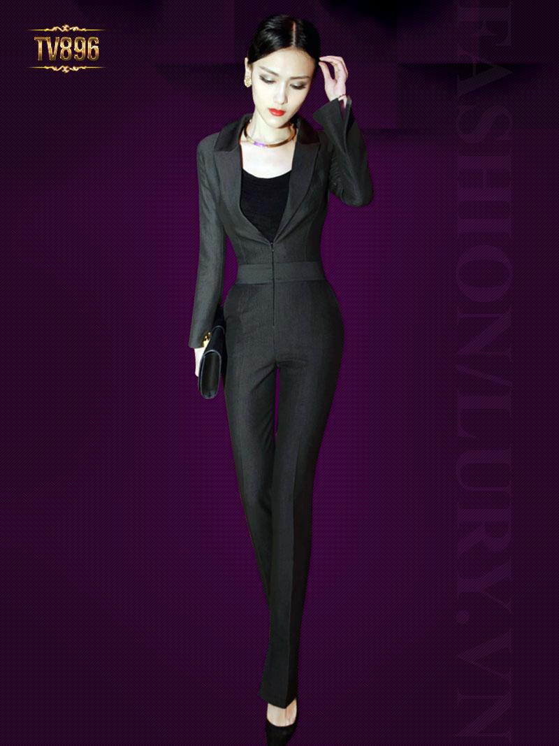 Jumpsuit dáng vest khóa trước phối quần dài màu đen cao cấp TV896