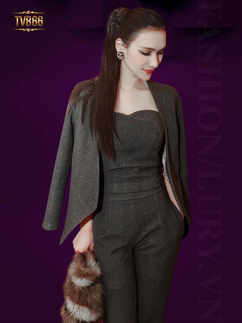 Set bộ đồ thiết kế kèm áo vest cao cấp TV866
