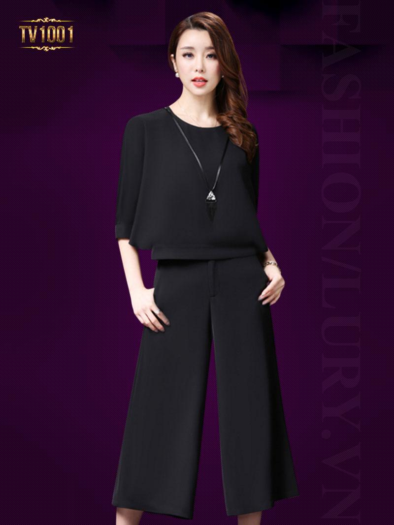 Set bộ màu trơn áo tay lửng+quần culottes thời trang TV1001