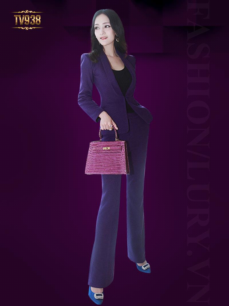 Set bộ thiết kế cao cấp áo vest tím+quần âu dài tôn dáng TV938
