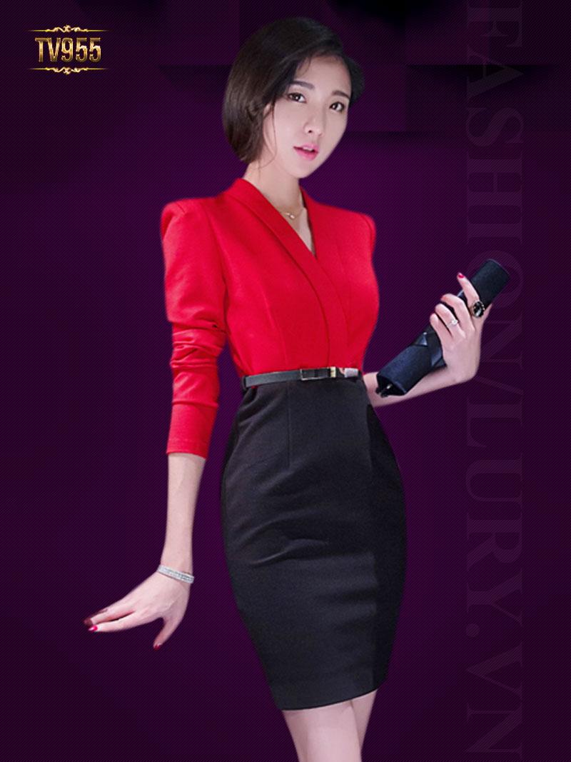 Set đầm thiết kế áo somi cổ V phối chân váy cao cấp TV955