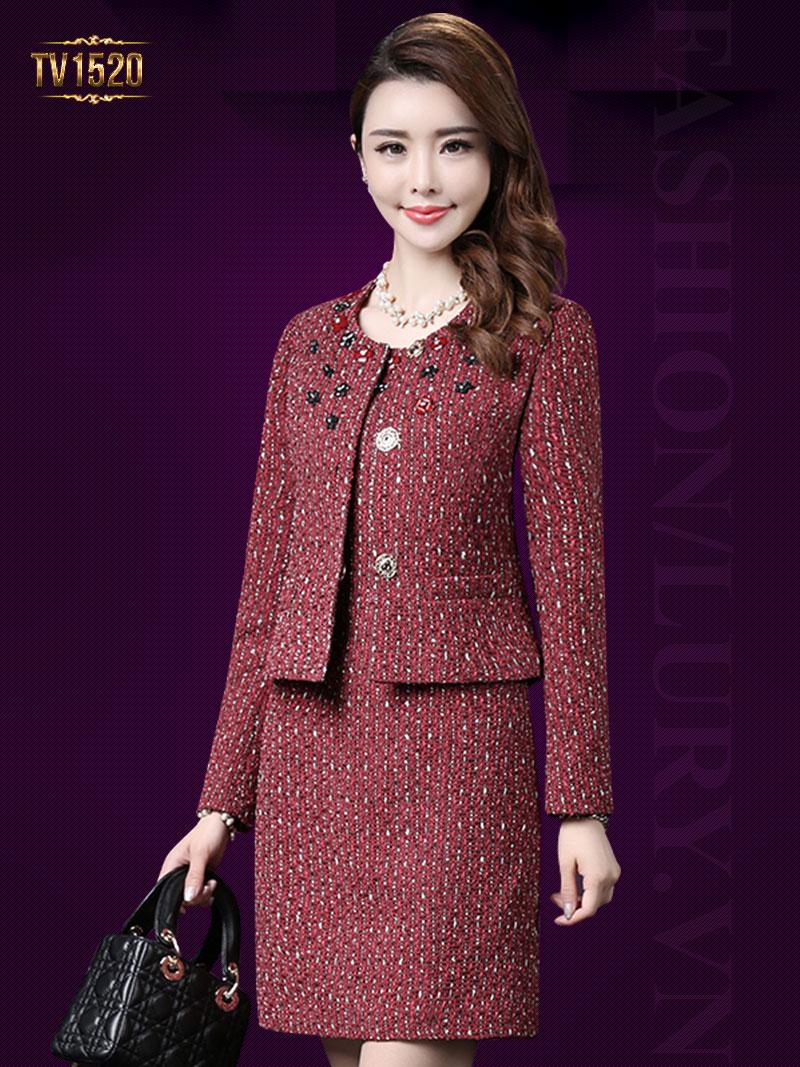 Set đầm dạ tweed cao cấp kèm áo khoác đính đá sang trọng TV1520