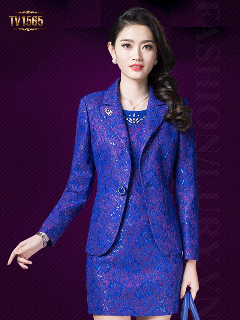 Mẫu đầm gấm cao cấp kết hợp áo vest nữ thời trang theo phong cách Hàn Quốc TV1565