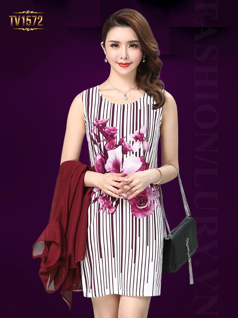 Set đầm hoa kẻ sọc + áo voan khoác màu đỏ sang trọng TV1572  Set đầm hoa ...