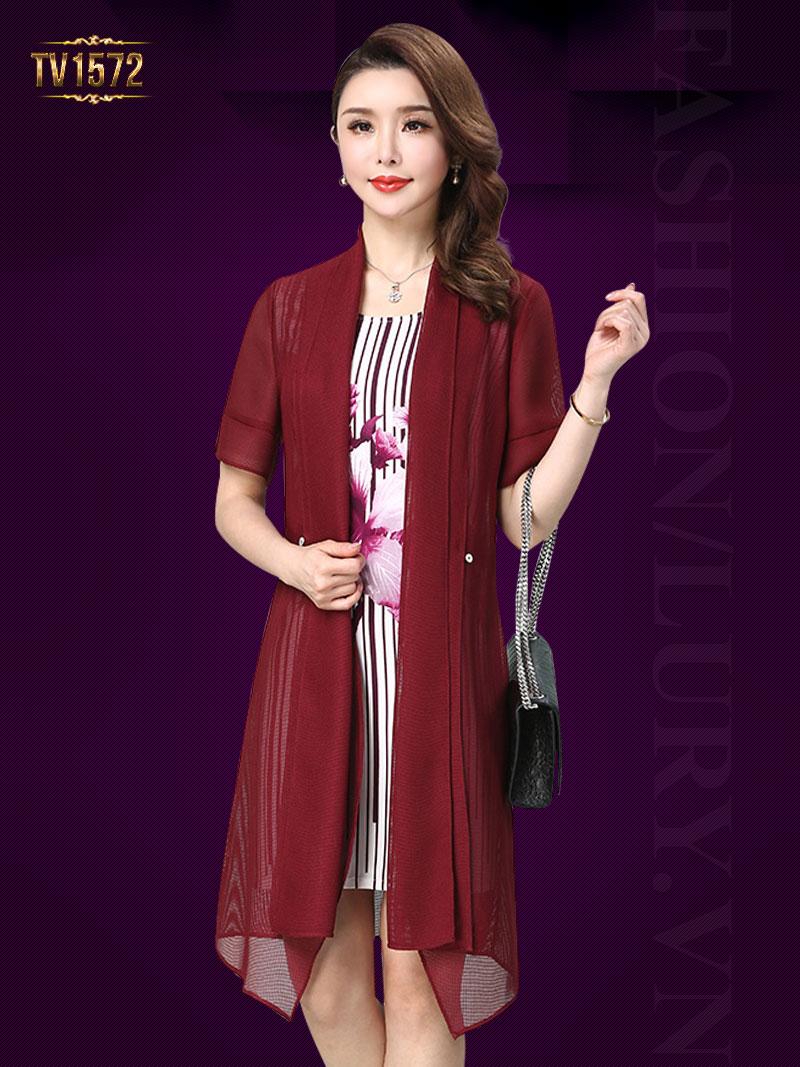 Set đầm hoa kẻ sọc + áo voan khoác màu đỏ sang trọng TV1572