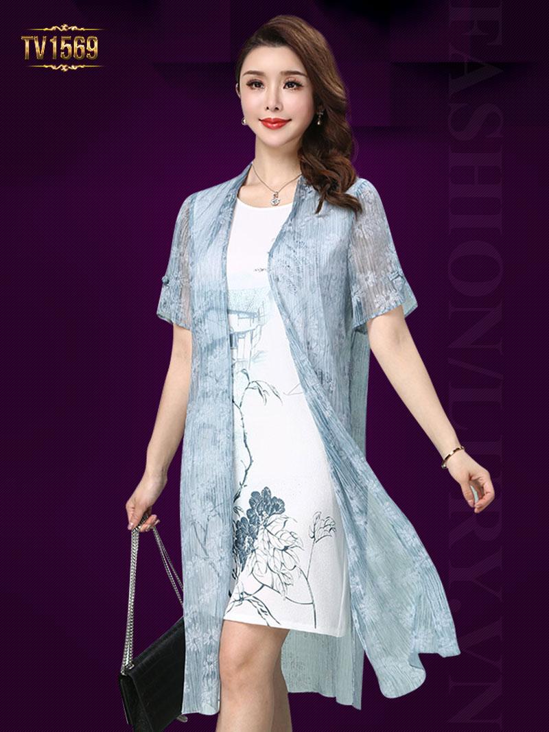 Set đầm sát nách họa tiết + áo khoác voan in hoa thời trang TV1569