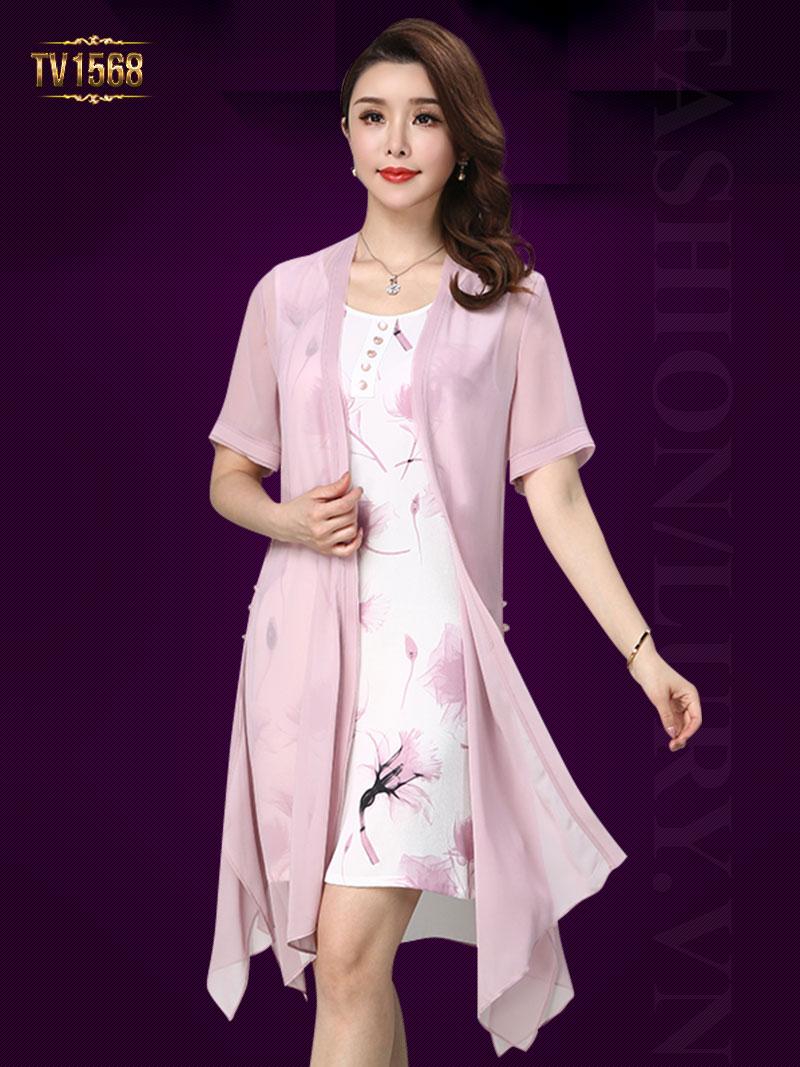 Set đầm sát nách họa tiết + áo khoác voan màu hồng thời trang TV1568