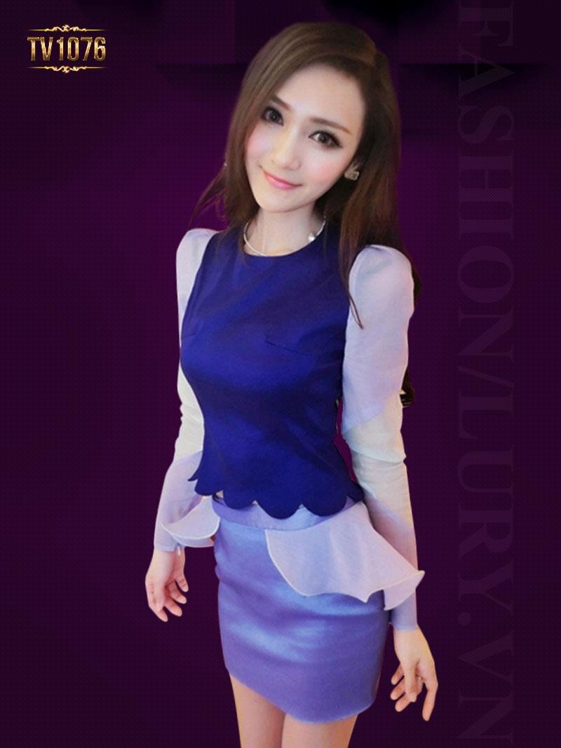 Set đầm tím áo phối màu chân váy peplum thời trang TV1076