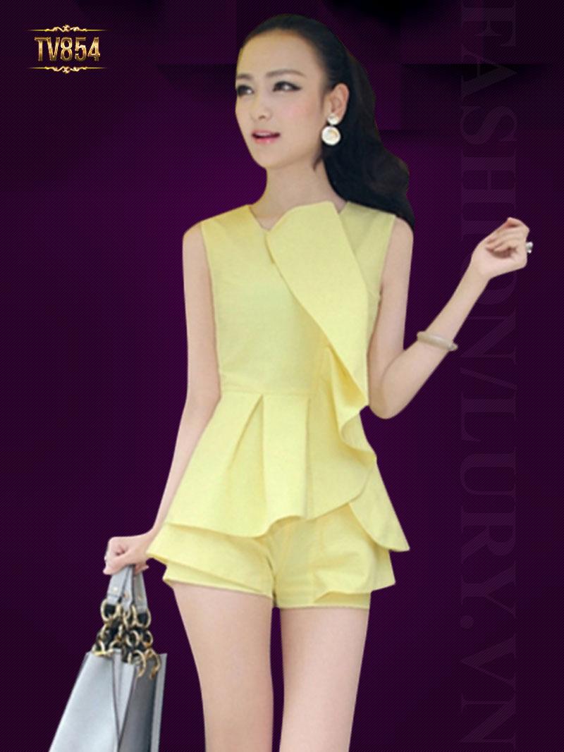 Set đồ thiết kế áo peplum cách điệu + quần sooc thời trang TV854
