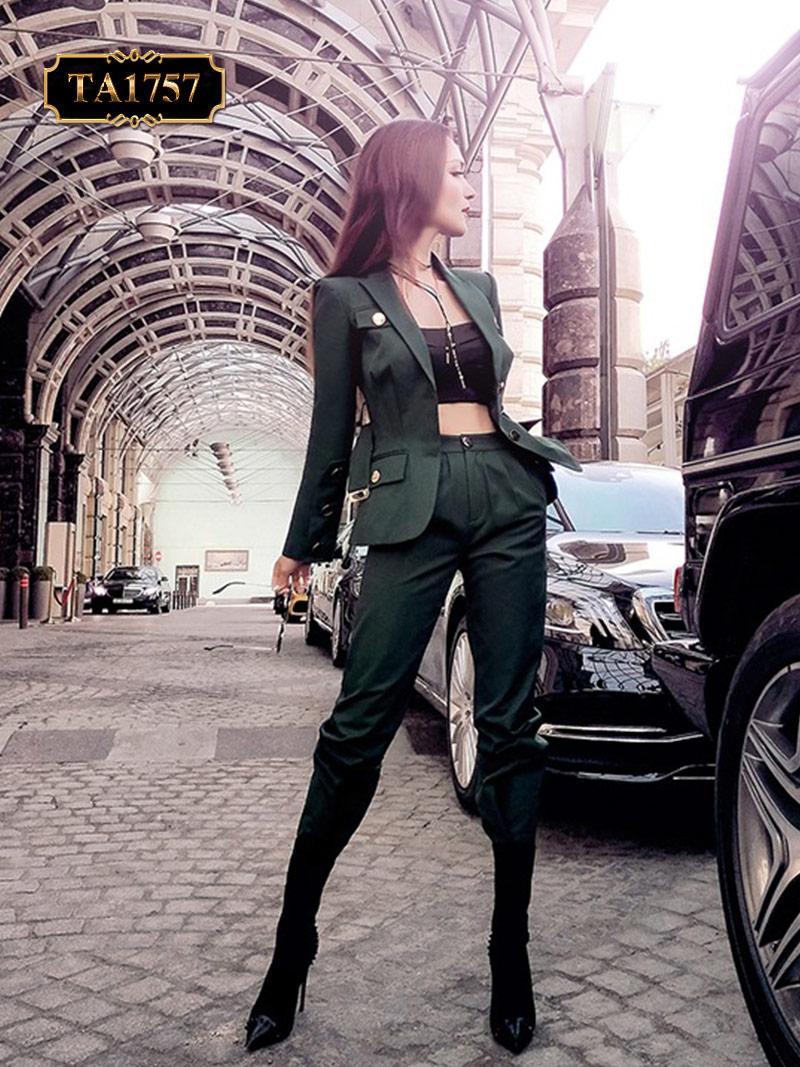Set vest bộ TA1757 quần dài cùng áo phong cách thời thượng mới 2019