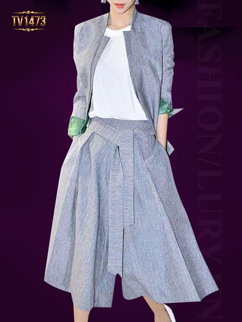 Set thiết kế áo khoác + quần culottes lửng 2 túi cá tính TV1473