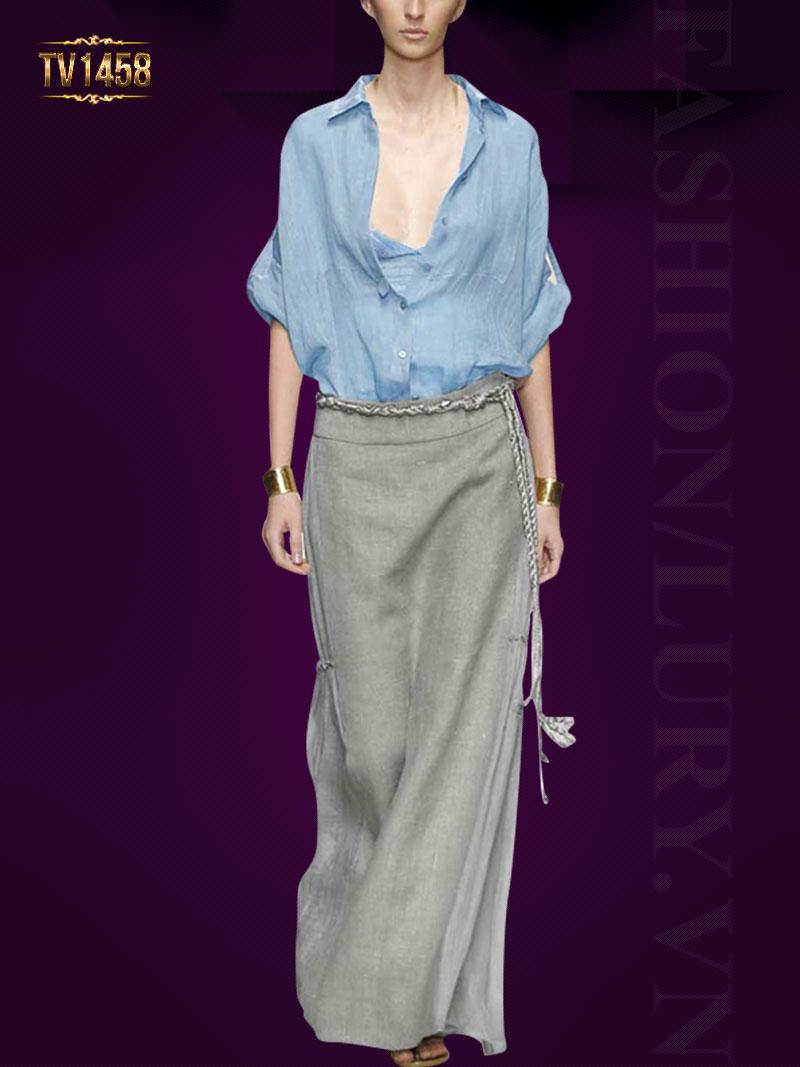 Set thiết kế cao cấp áo sơ mi xanh + chân váy dài đai tết thời trang TV1458