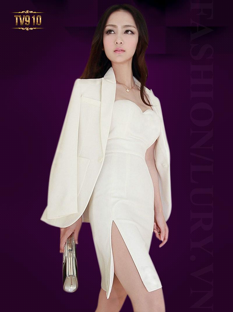Set thiết kế cao cấp áo vest trắng + đầm cúp ngực xẻ vạt quyến rũ TV910