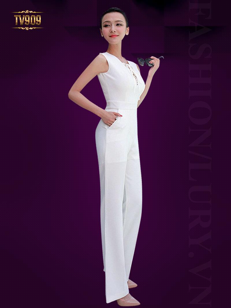 Set thiết kế cao cấp áo vest trắng + jumpsuit sát nách thời trang TV909