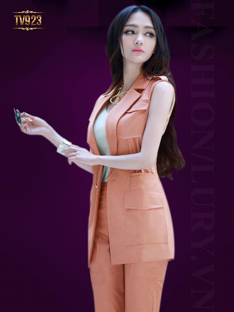Set thiết kế cao cấp áo vest gile+quần âu dáng dài thời trang TV923