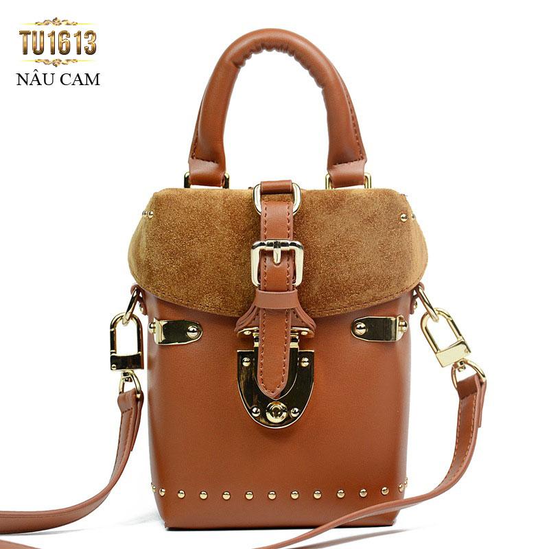 Túi xách da dáng đứng thời trang TU1613 (Nâu cam)