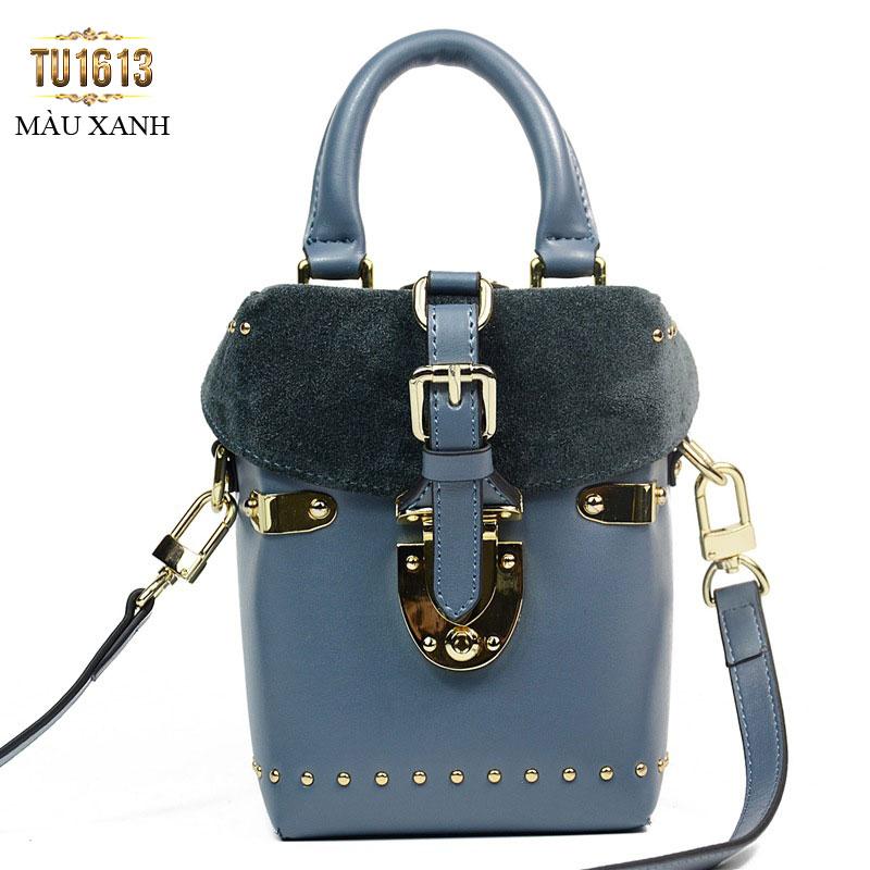 Túi xách da dáng đứng thời trang TU1613 ( Màu xanh)