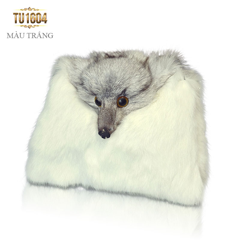 Túi xách lông thú dây xích thời trang TU1604 (Màu trắng)