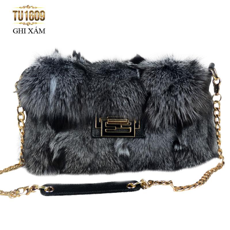 Túi xách lông màu ghi xám nhập khẩu cao cấp TU1609