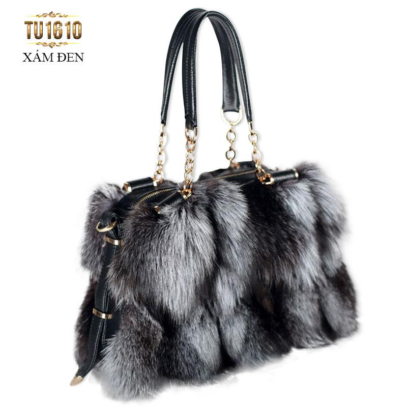 Túi xách lông màu xám đen thời trang cao cấp TU1610