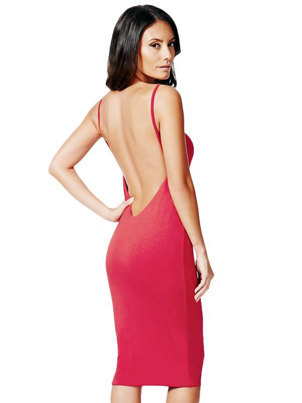 Đầm body nữ màu đỏ hở lưng 2 dây giúp cho cô nàng thêm phần sexy gợi cảm