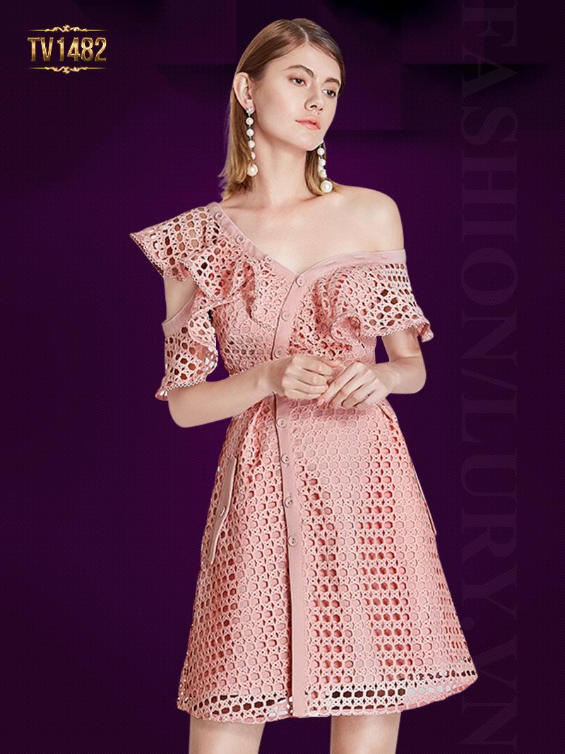 Váy hồng lưới vai bèo lệch cách điêu cao cấp TV1482