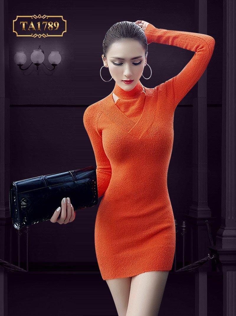 Váy len body TA1789 thiết kế cổ 3 phân cutout mẫu mới 2019