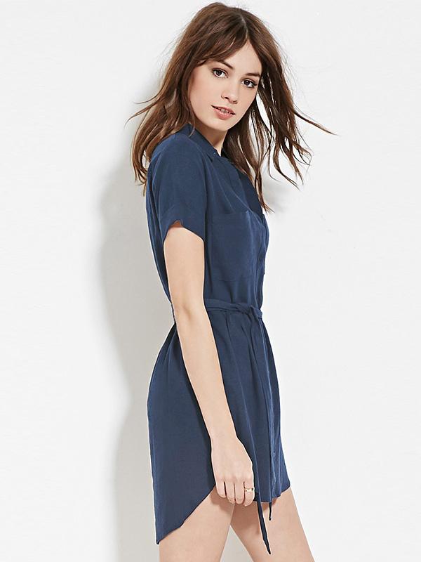 Váy liền cổ somi 2 túi ngực cao cấp TV1085 (Xanh than)