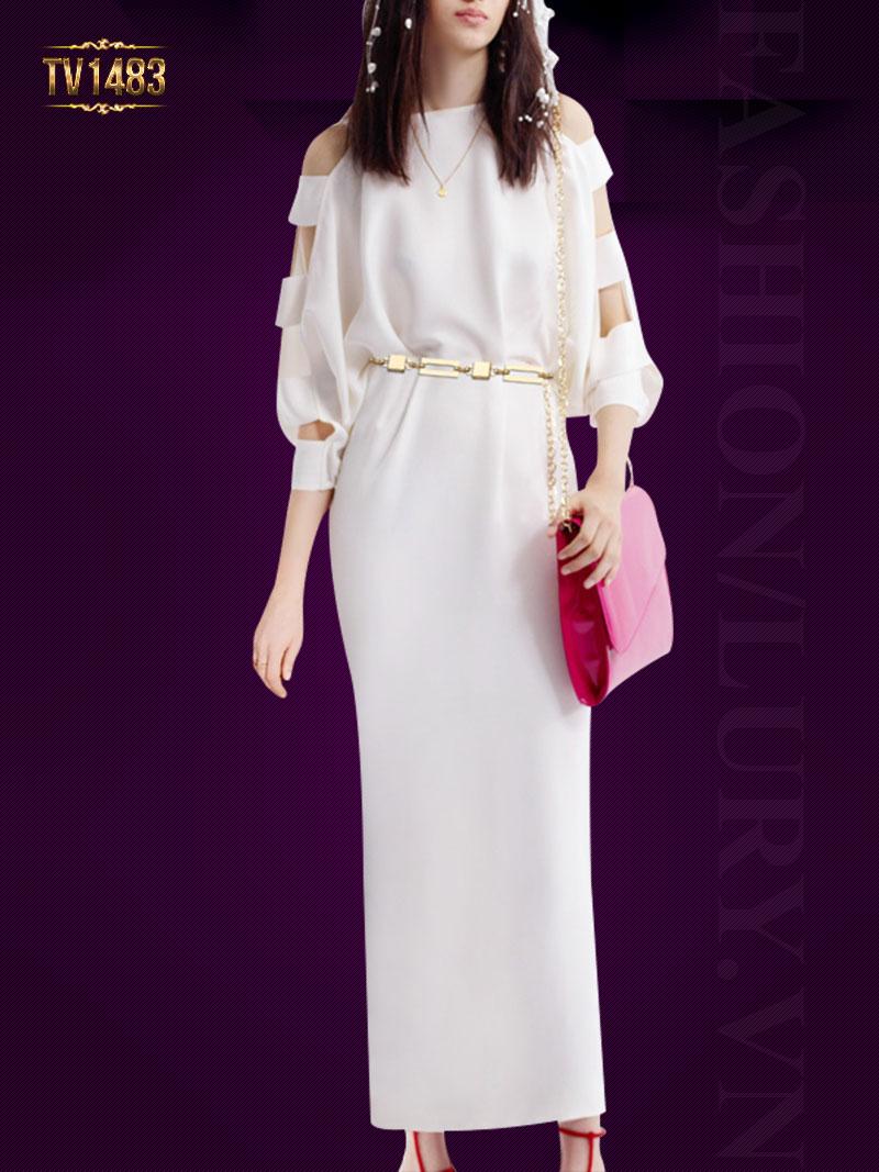 Mẫu váy suông dài cutout tay màu trắng cao cấp giúp tôn lên nét đẹp của người mặc TV1483