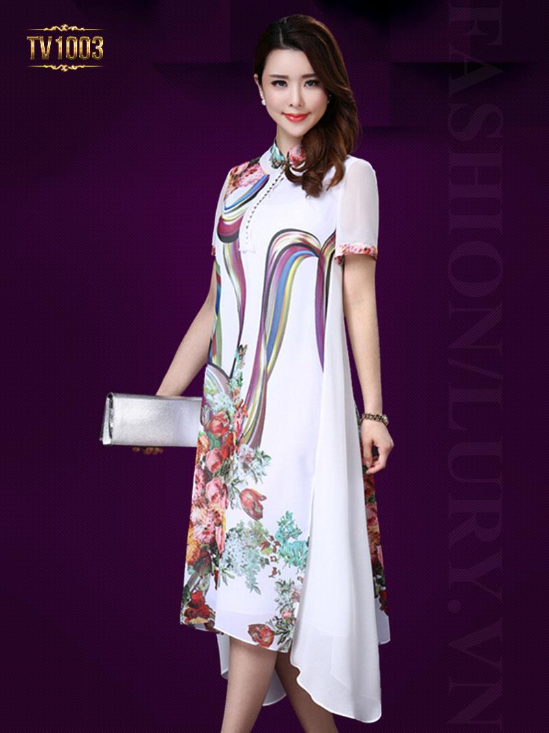 Váy voan họa tiết tay ngắn dáng dài cao cấp TV1003 (Màu trắng)