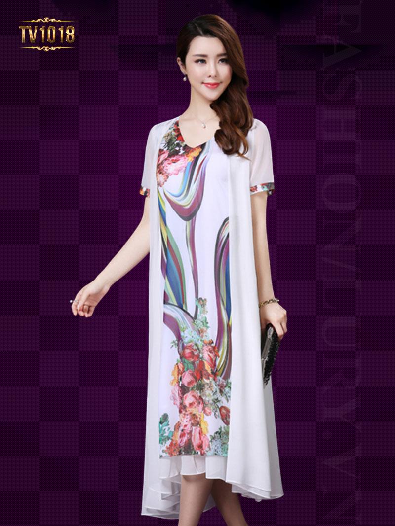 Váy xòe họa tiết vạt bất đối xứng cao cấp TV1018 (Màu trắng)