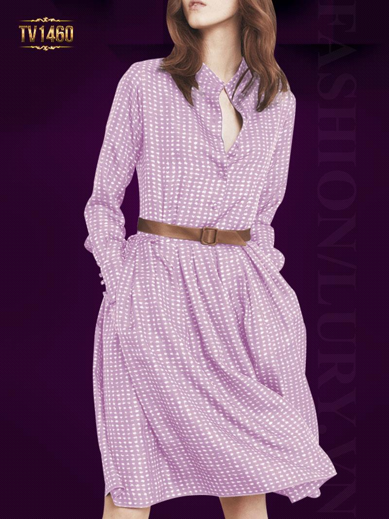 Mẫu váy xòe họa tiết màu tím nơ eo cao cấp nổi bật vô cùng TV1460